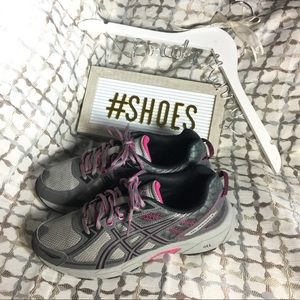 ASICS GREY PINK WOMENS ATHLETIC LACE UP RUN SHOES